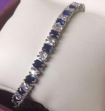 Plum Reino Unido Azul Zafiro Sim Diamante Corte Princesa Oro Blanco 184 mm GF Pulsera BOXD