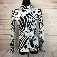 Betsey Johnson Vtg 90s Black White Abstract Blazer Jacket USA Size M Floral