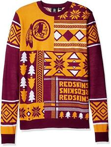 NFL Football Washington Redskins Ugly Patch Sweater by KLEW Choose Size