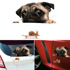 1pc Funny 3D Pug Dogs Watch Snail Car Window Decal Cute Pet Puppy Laptop Sticker