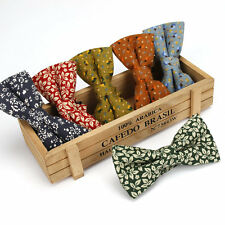 Men's Bow Tie Adjustable Cotton Bowtie Vintage Flower Print Butterfly Party Gift
