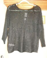 ANN TAYLOR   BLACK   SHEER KNIT  SEQUINED   BOXY  PULLOVER   SWEATER NWT SZ M