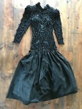 Lillie Rubin Womens Dress-Vintage-Formal-Beautiful-Beaded-Lace-SIze 8-Ball Gown