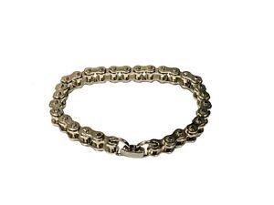 Vintage Bike Chain Link Silver Coloured Metal Bracelet 20cm Armband Men's J003