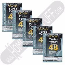 Alcotec 48 Hour Turbo Super Yeast Fast Fermenting Distilling Moonshine - 5 Pack