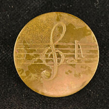 """VTG Gold Tone Metal Sewing Picture Button Sheet Music G Clef F Note 1 1/8"""""""