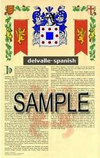 DELVALLE Armorial Name History - Coat of Arms - Family Crest GIFT! 11x17