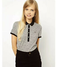 FRED PERRY Polo Black White Top Leopard Animal UK 10 S M