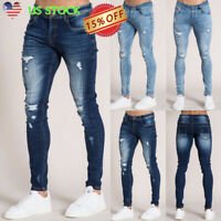 Mens Ripped Skinny Pencil Jeans Distressed Frayed Slim Fit Denim Pants Trousers