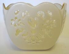 Lenox Cutwork Heart Bowl Cream Color Pentagon 3 to 4 Inches Gold Trim