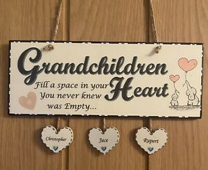 Personalised Grandchildren Plaque Sign Hand Made Grandparent Gift Inc. Hearts 3