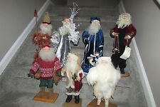 "Hand Crafted 18"" Christmas Santa Claus Figure ""Kringles"" - Collection of 7"