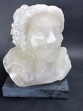 "VICTORIAN CARVED ALABASTER MARBLE BUST OF A WOMAN 13"" tall 50 pounds"