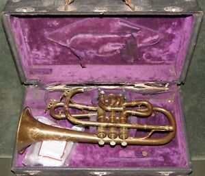 vntg COUTURIER 'CONICAL BORE' CORNET! complete, needs work, ORIG CASE, LO START