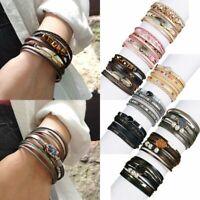 Women Multilayer Leather Magnet Wrap Bracelet Natural Stone Crystal Pearl Bangle