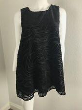 ALFANI Sz 16 Shirt Black Sleeveless Casual Textured Blouse