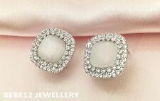 Opal Diamond shape stud earring/White gold plated/RGE494