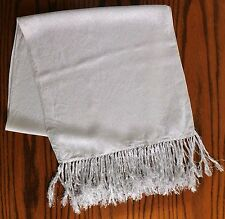 Vintage white and silver glittery scarf with long fringe