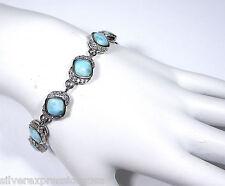 Genuine AAA Dominican Larimar 925 Sterling Silver Link Bracelet 7.5''