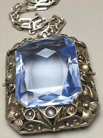 Extrem groß - Antiker 800 Silber Anhänger blauer Spinell & lange Ankerkette/A106