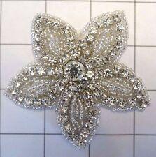 "3"" by 3"" Crystal Rhinestone Beaded Flower Applique"