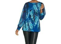 Susan Graver Printed Liquid Knit Tunic with Chiffon Sleeves Blue 1X Plus Size