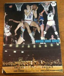 Nov 19, 1968 New York Knicks vs San Diego Rockets Program