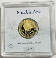 100 DRAM 2020 ARMENIA 💥 ARCHE NOAH 1 GRAM 999.9 GOLD BOX & CERTIFICATE GIFT 💥