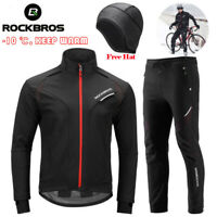 ROCKBROS Winter Cycling Jacket Pants Set Thermal Windproof Outdoor Jersey&Pants