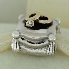 Authentic Pandora 790549D romantische Union Diamant Gold Sterling Silber Bead Charm