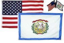 Wholesale Combo Usa & West Virginia State 3x5 3'x5' Flag & Friendship Lapel Pin
