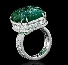 925 Sterling Silver Green Carved Emerald Solid Three Row Round CZ Ring for Women