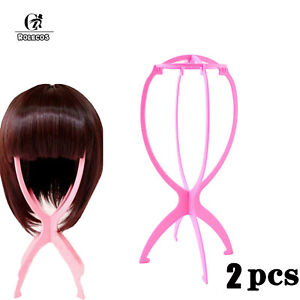 2Pcs Folding Plastic Wig Stands Stable Wig Hair Holder Stand Support Hanger Tool
