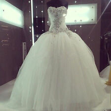 Sweetheart Beaded White/Ivory Tulle Ball Gown Wedding Dress Bridal Gown Custom