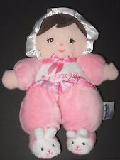 Garanimals My First Doll Pink Soft Plush Bunny Feet Brown Hair Rattle Baby Toy
