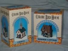 2 ceramic birdhouses. unused. ready for spring. church & Summer Cottage