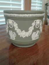 Vtg Wedgwood Sage Green Planter Jasperware Cache Pot England Lion Greek Motif