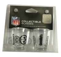2 Pack NFL Pittsburgh Steelers 1.75 oz Shot Glass Satin Etch Collectible Glasses