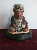 Vintage Cast Iron Bear Door Stop With Apron Baking