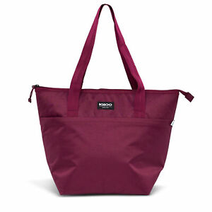 Igloo REPREVE Insulated 16 Can Avery Soft Side Cooler Tote Bag, Cherry