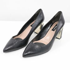 DKNY Pumps US 6.5 Chunky Heel Gold Accent Elie Black Leather Pointed Toe Career