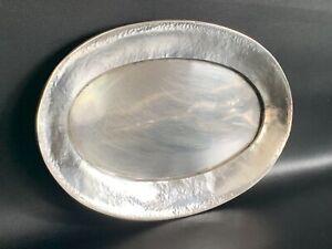 Antikes altes Ovales Tablett in 800er Silber Hammerschlag