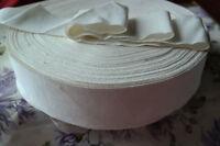 "BTY 2 5/8"" cream / white vintage cotton rayon petersham ribbon millinery hat"
