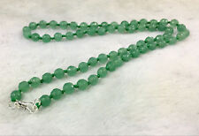 Light green 6mm Emerald Faceted Roundel Gems Beads Necklace 925 Silver Clasp