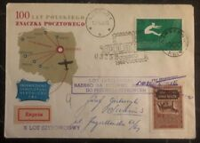 1960 Warsaw Poland First Day Airmail Cover FDC to Gniezno Stamps Centenary