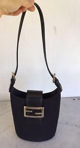Vintage FENDI Black Fabric Leather Bucket Mini Bag Rare