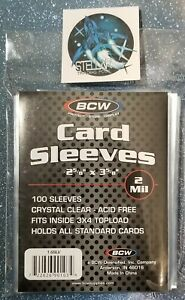(100) Standard Trading Card Soft Sleeves BCW (1x100) NEW