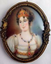 Antique Miniature Portrait Painting on Ivory Napoleons Empress Josephine Signed