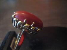 Art Deco Ring riesige Rote Koralle sizilianisch Handarbeit Unikat 585er Gold 5,1