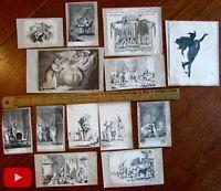 Miniature engravings c.1780-1800 lot x 13 charming prints of people